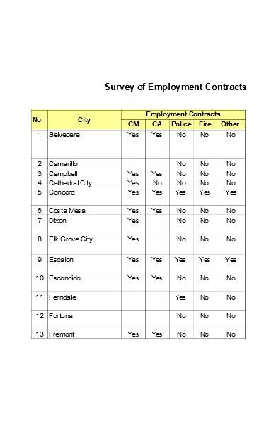 employment contract template in excel