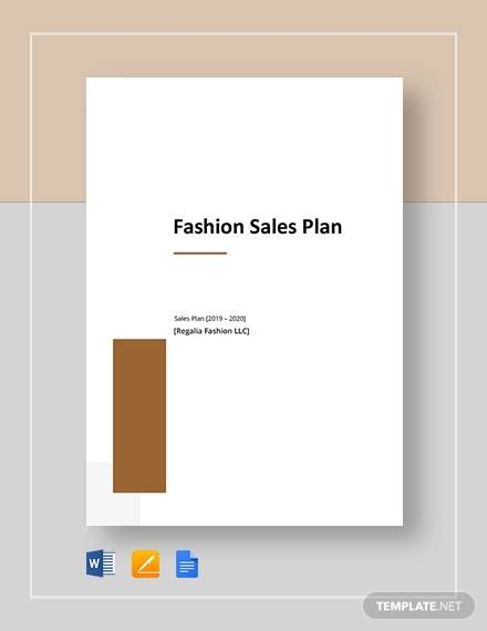 fashion sales plan template
