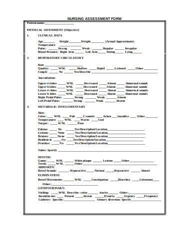general nursing assessment form