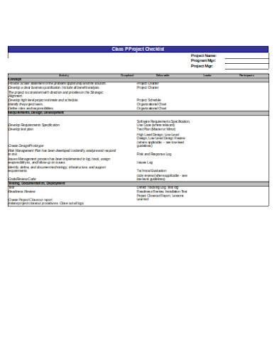 general project checklist