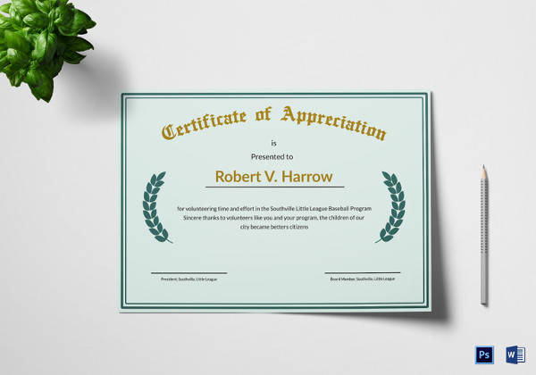 illustration appreciation certificate template