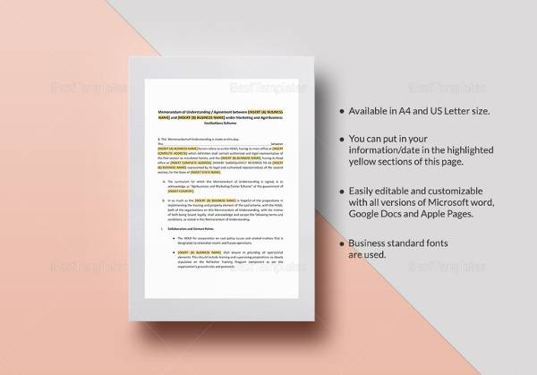 memorandum of understanding format for business template