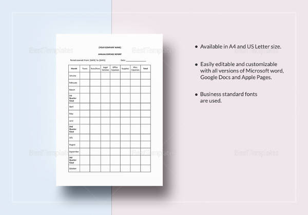 printable annual expense report template