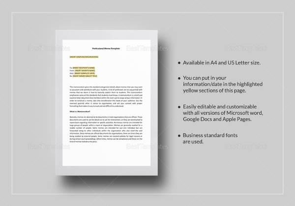 14 sample business memos sample templates professional business memo template in word wajeb Images