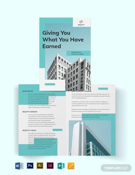 property agent agency bi fold brochure template