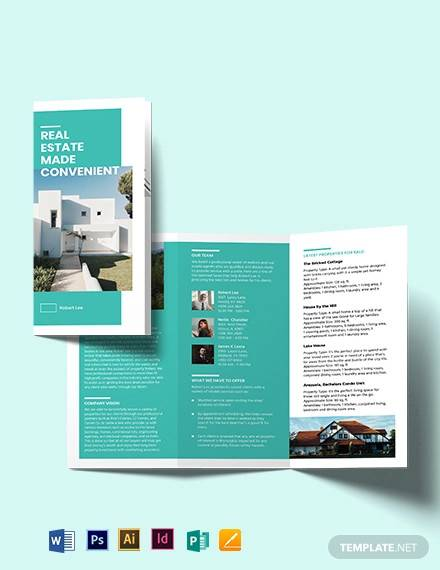 property broker tri fold brochure template