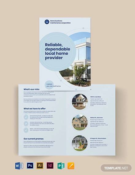 property maintenance bi fold brochure template