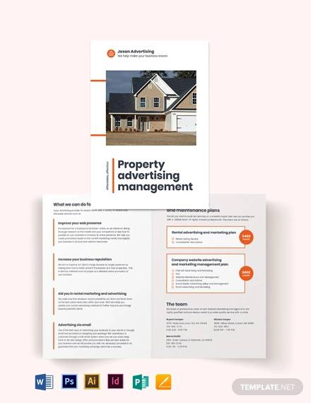 property management advertising bi fold brochure template