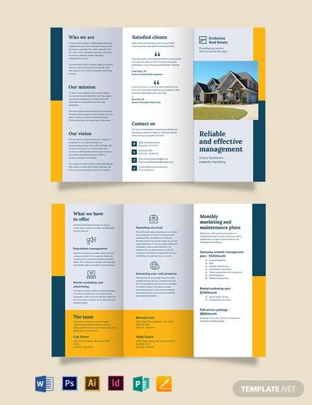 property management marketing tri fold brochure template