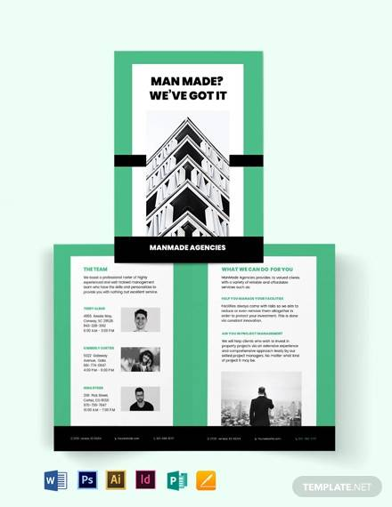 property manager bi fold brochure template