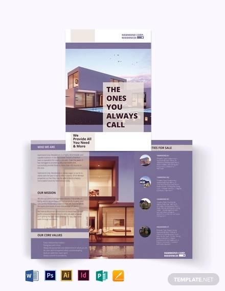 residential property management bi fold brochure template
