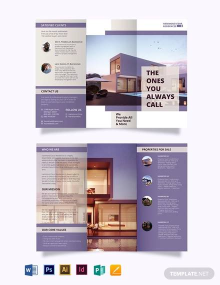 residential property management tri fold brochure template