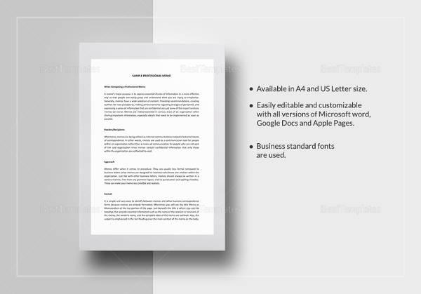 sample professional memo template