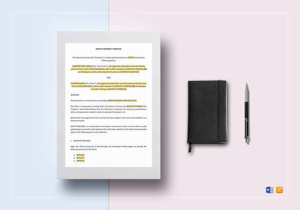 simple service contract template to print