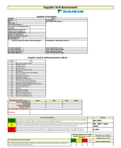 simple supplier self assessment form