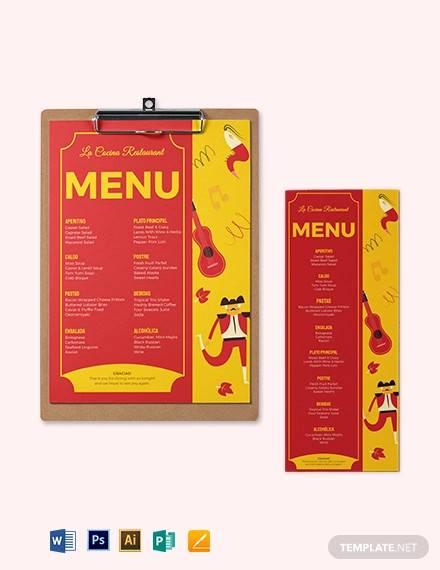 spanish dinner menu template