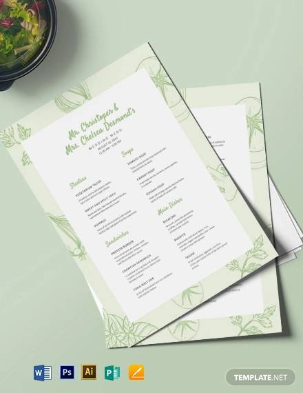 vegetarian wedding menu template