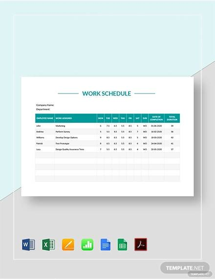 Free 26 Samples Of Work Schedule Templates In Google Docs Google Sheets Excel Ms Word Pages Psd Pdf