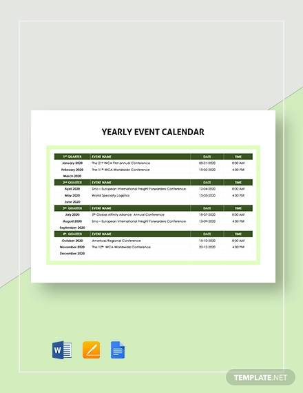 yearly event calendar template