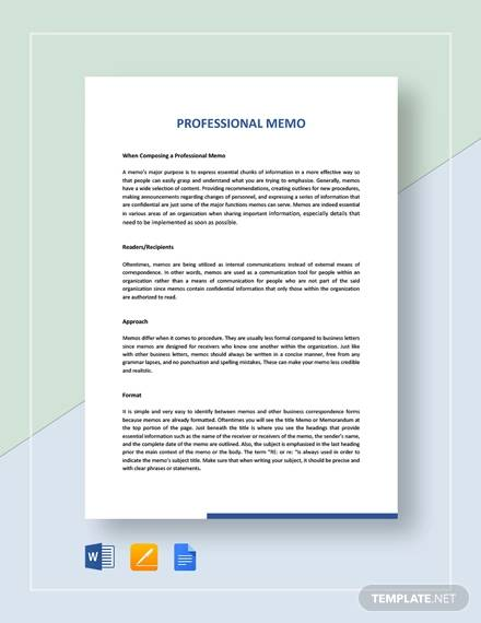 sample professional memo