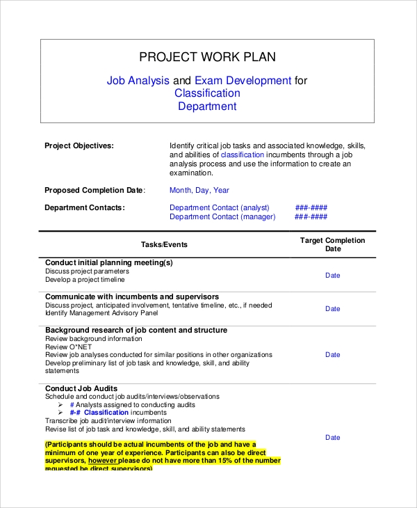 Sample Work Plan Documents In Word Pdf