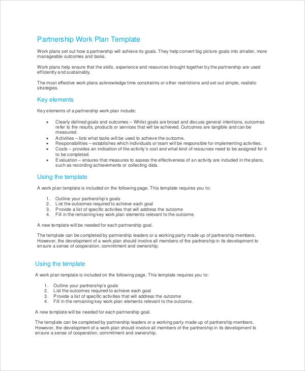 partnership work plan template