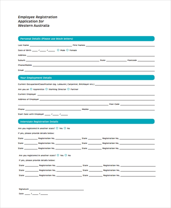 Employee Registration Application Form