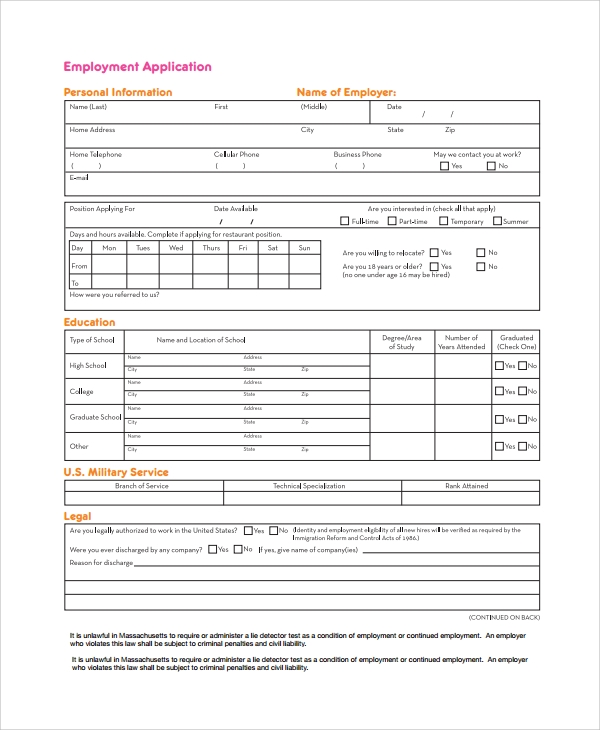 professional employee application form