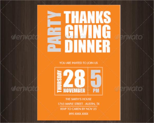 thanks giving dinner invitation template