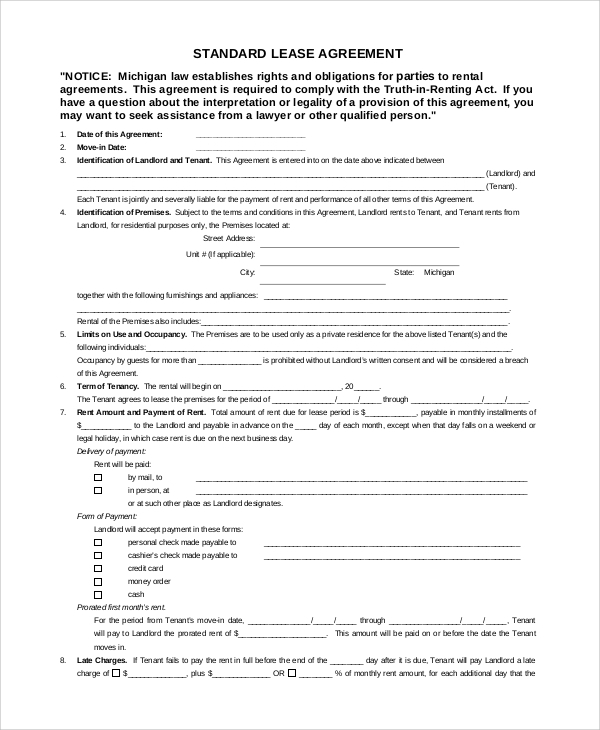 Sample Lease Agreement - 7+ Documents In Word, Pdf