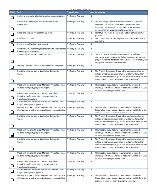 Sample Project Checklist   Documents In Word Pdf
