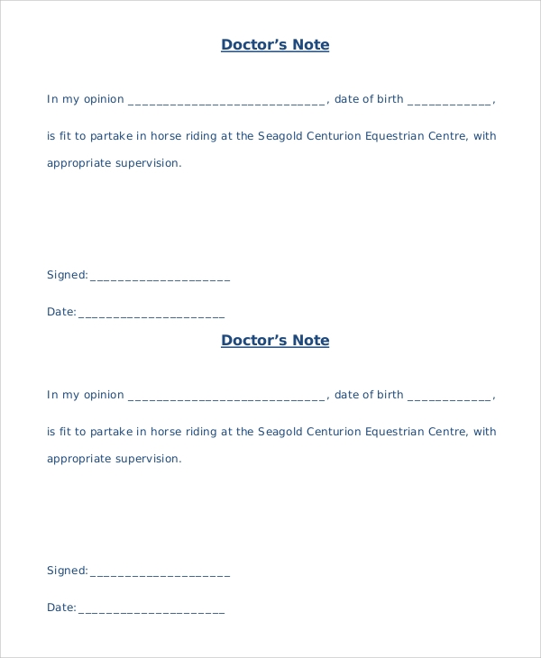 Sample Doctors Note   Documents In Word Pdf