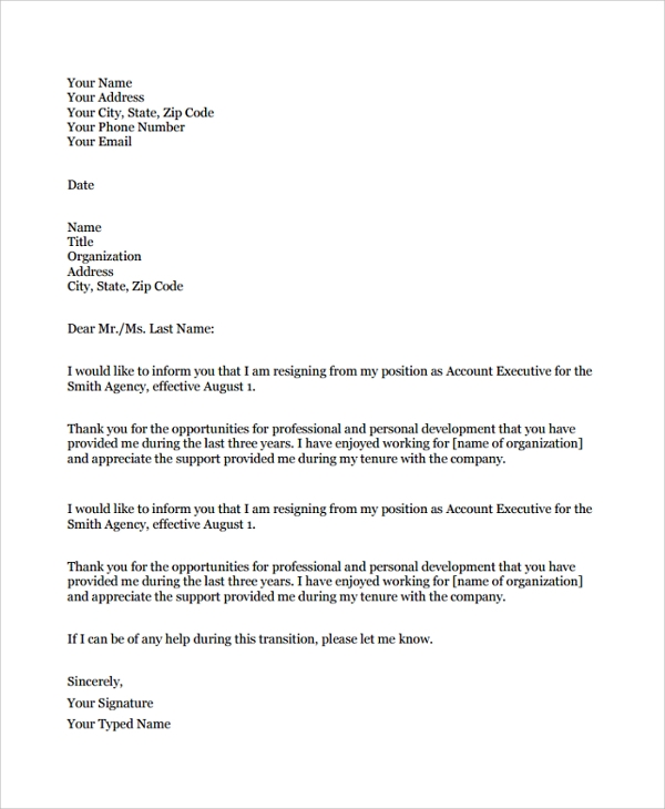 Sample Resignation Letter   Documents In Pdf Word