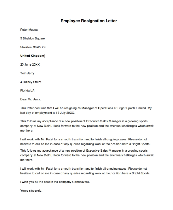 Sample Templates  Employment Resignation Letter