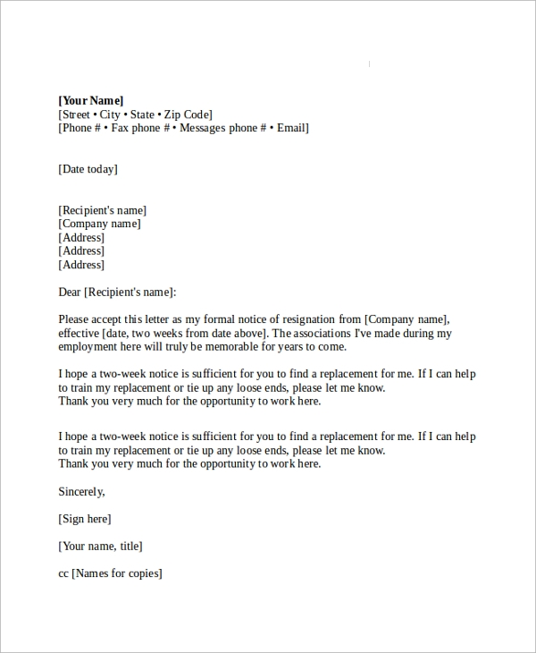Full And Final Settlement Of Employee Letter Format >> 19+ Sample Resignation Letters | Sample Templates