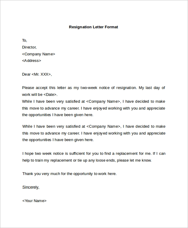 Sample Resignation Letter 19 Documents in PDF Word – Resignation Letter As Director