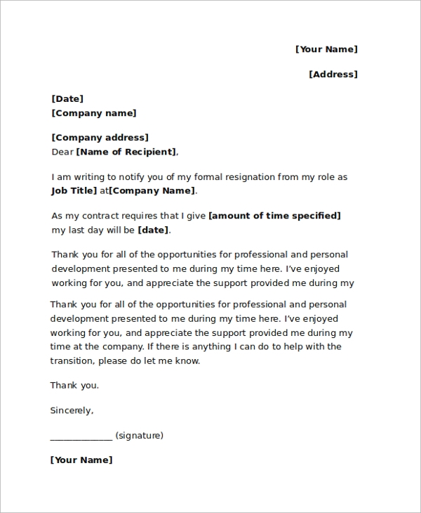 Sample Resignation Letter - 18+ Documents In Pdf, Word