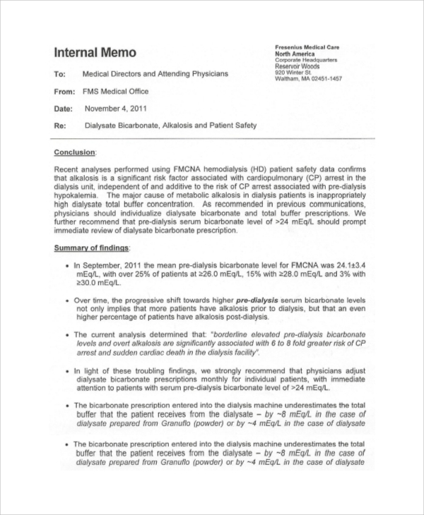 Sample Business Memo   Documents In Pdf
