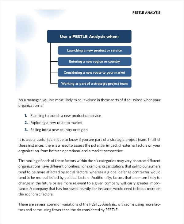 Sample Pest Analysis   Documents In Pdf