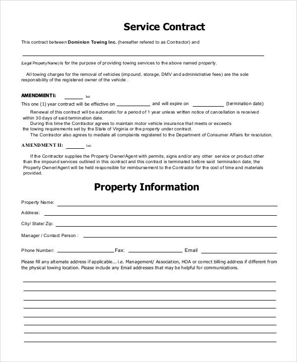 Sample Service Contracts Sample Templates - Fee for service contract template