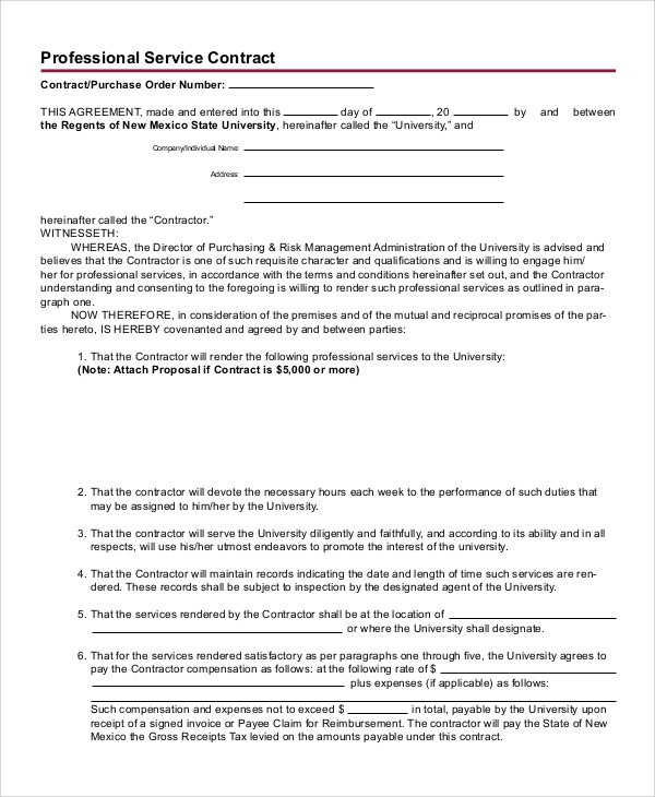 Sample Service Contract - 7+ Documents In Word, Pdf