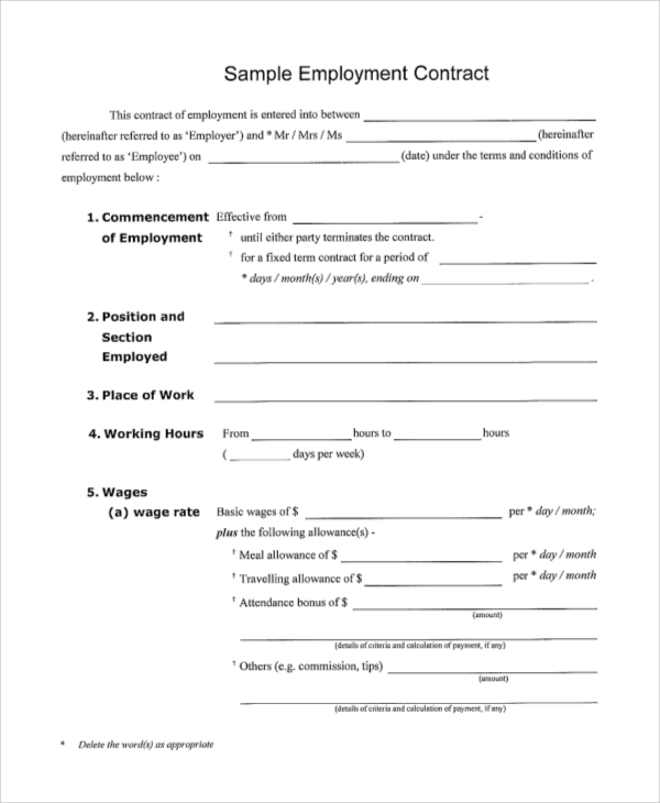 Employment Contracts Executive Employment Contract Sample Sample