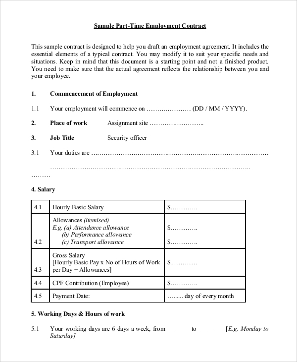 part time employment contract template free 8 sample employment contracts sample templates