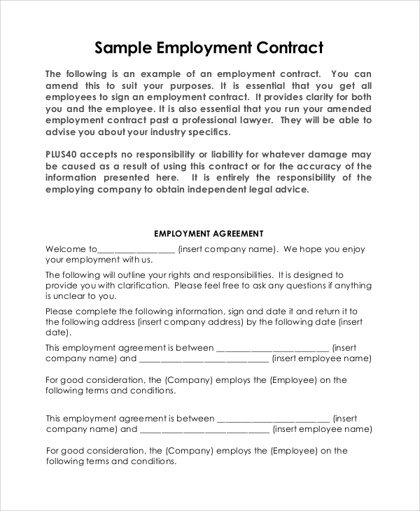 Doc Free Employment Contract Template Word  Employment