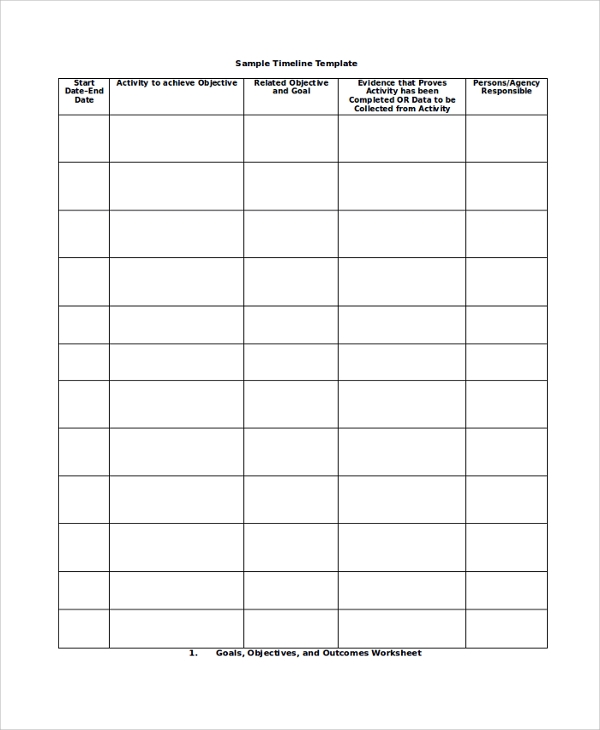 sample timeline template
