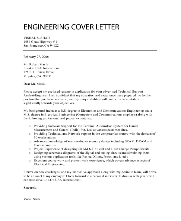 Sample professional cover letter 7 documents in pdf word professional engineer cover letter altavistaventures Image collections