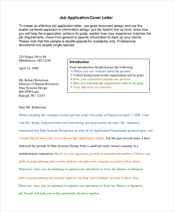 Sample Professional Cover Letter 7 Documents in PDF Word – Should Cover Letters Be Double Spaced
