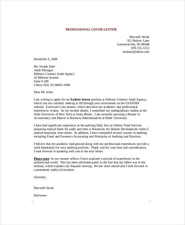 Sample Cover Letter Example Template: Sample Professional Cover Letter