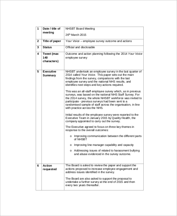Employee Survey Sample - 8+ Documents In Word, Pdf