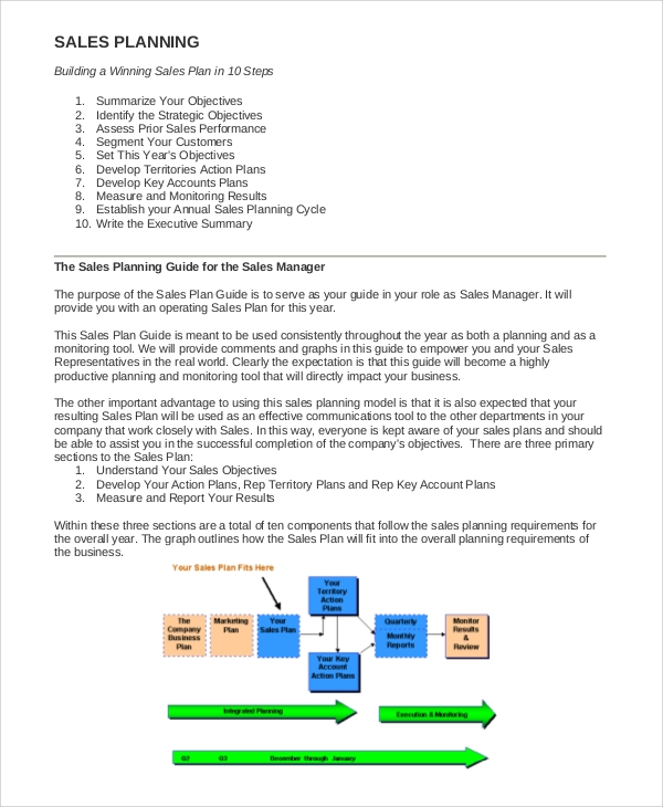 Sample Sales Plan   Documents In Pdf